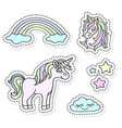 unicorn and rainbow sticker set vector image vector image