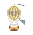 vintage hot air balloon with flag and basket for vector image vector image