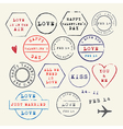 Wedding and Valentines Day stamp set vector image vector image