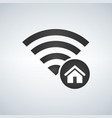 wifi connection signal icon with home icon in the vector image
