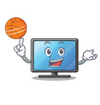 with basketball lcd tv cartoon in living room vector image vector image
