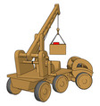 yellow construction vehicles toy on white vector image vector image