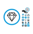Diamond Flat Icon With Bonus vector image