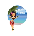 hawaiian young hula dancer on ocean beach vector image