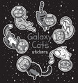 badge with cats astronauts stickers kit vector image