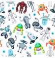 seamless pattern with cute funny robots vector image