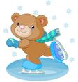 bear on ice skates vector image