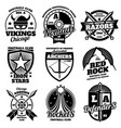 school emblems college athletic teams sports vector image