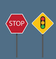 stop and traffic signs vector image