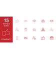 15 community icons vector image vector image