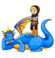 A boy taming the dragon vector image vector image