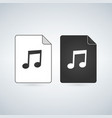audio document file icon with music note flat vector image vector image