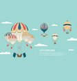 banner with colorful hot air balloons in sky a vector image vector image