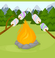 bonfire with marshmallow - camping burning vector image