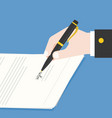 business hand holding ink pen signing contract vector image vector image