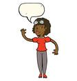 cartoon pilot woman waving with speech bubble vector image