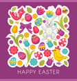 chicken and bunny eggs and tulips easter religious vector image vector image