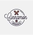 cinnamon logo round linear logo cinnamon stick vector image vector image