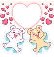 cute bears angels in snow heart frame vector image
