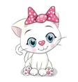 Cute Cartoon white kitten vector image
