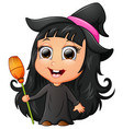 cute girl cartoon wearing witch costume vector image