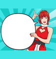 cute santa woman showing with comic bubble vector image