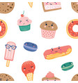 cute sweets seamless pattern desserts colorful vector image