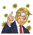 donald trump wearing corona virus mask on face vector image vector image