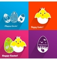 Easter backgrounds with eggs and chickens vector image