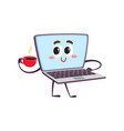 flat funny laptop character with coffee vector image vector image