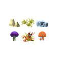 flat set of cartoon landscape elements for vector image vector image