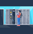 flat young girl with book at school lockers vector image