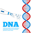 genetic engineering concept with robot hand vector image vector image