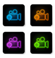 glowing neon movie or video camera and gear icon vector image vector image