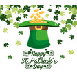 gold coins inside st patrick hat with clovers vector image vector image