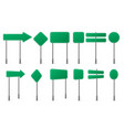 green road signs different shapes on metal post vector image