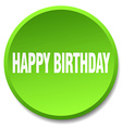 happy birthday green round flat isolated push vector image vector image