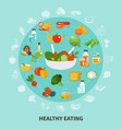 healthy eating circle composition vector image vector image