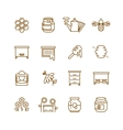 Honey bee beekeeping thin line icons set vector image