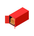 isometric red shipping container loaded with palet vector image vector image
