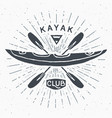 kayak club vintage label hand drawn sketch grunge vector image vector image