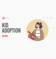 kid adoption custody and childcare landing page vector image