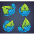 leaves water and hands vector image vector image