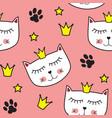 little cute cat princess seamless pattern vector image vector image