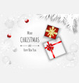 merry christmas background with gift box and ball vector image