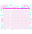 monthly planner calendar for the month vector image vector image