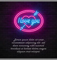 neon light valentines day i love you card vector image