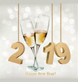 new year holiday background with a 2019 and two vector image vector image