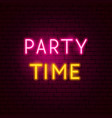 party time neon sign vector image vector image