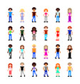 pixel people for game set detailed isolated vector image